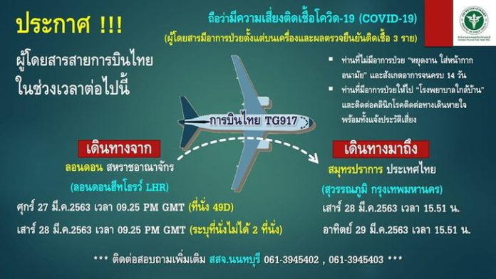 ประกาศตามหาผู้โดยสารการบินไทยเสี่ยงติดเชื้อโควิด-19 ไฟลต์ TG917 เดินทาง 27-28 มี.ค.