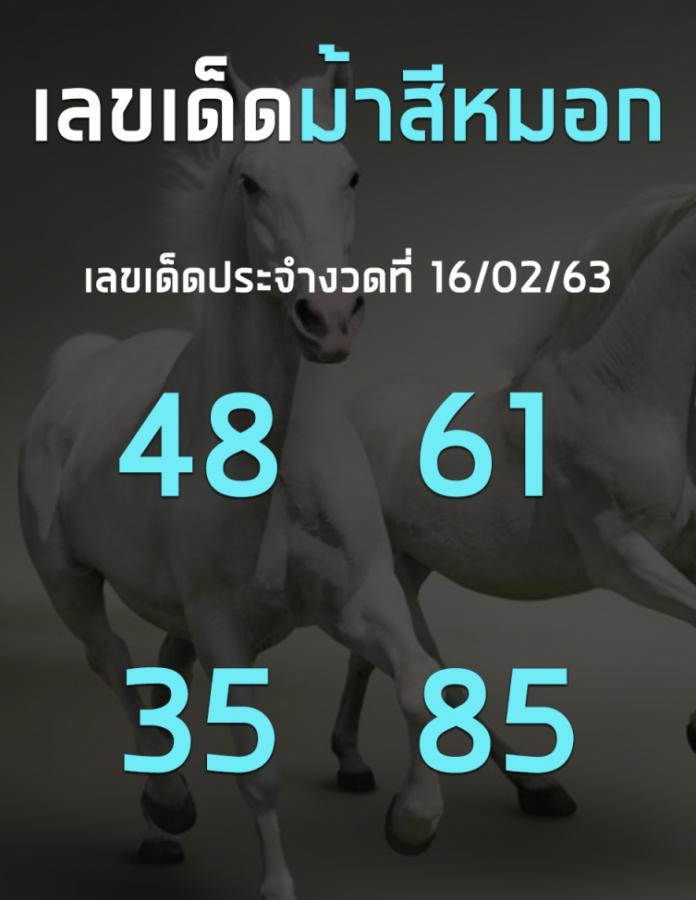เลขเด็ดเลขดังม้าสีหมอก งวดประจำวันที่ 16 กุมภาพันธ์ 2563